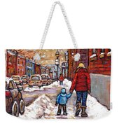Original Montreal Street Scene Paintings For Sale Winter Walk After The Snowfall Best Canadian Art Weekender Tote Bag