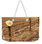 Hat And Lasso On Fence Weekender Tote Bag