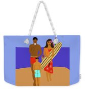 Hawaiian Family Beach Scene Weekender Tote Bag