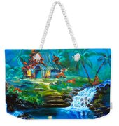 Hawaiian Hut And Waterfalls Weekender Tote Bag