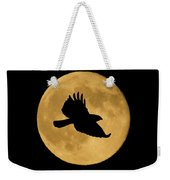 Hawk Flying By Full Moon Weekender Tote Bag