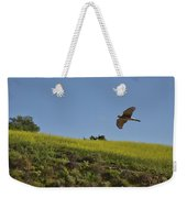 Hawk Flying Over Field Of Yellow Mustard Weekender Tote Bag