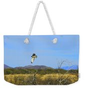 Hawk In Flight Over The Desert Weekender Tote Bag