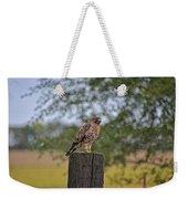 Hawk On A Fence Post Weekender Tote Bag