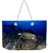 Hawksbill Turtle Swimming With Diver Weekender Tote Bag