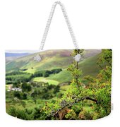 Hawthorn Branch With View To Wicklow Hills. Ireland Weekender Tote Bag