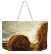 Hay Bales On Farm Field Weekender Tote Bag