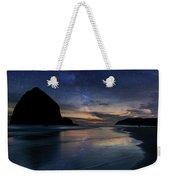 Haystack Rock Under Starry Night Sky Weekender Tote Bag