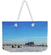 Haystacks In The Snow Before The Sunset Date Weekender Tote Bag