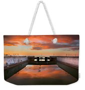 Hdr Sunset Over Harbor And Graffiti Weekender Tote Bag