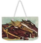 Head And Head At The Winning Post Weekender Tote Bag