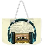 Blue Headphone And Yellow Cassette Collage Print Weekender Tote Bag