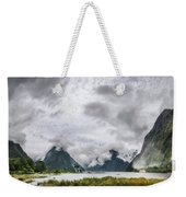 Heads In The Clouds Panorama At Milford Sound Weekender Tote Bag