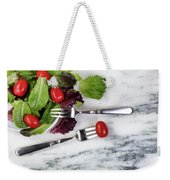 Healthy Organic Salad Flowing Out Of Plate On Natural Marble Tab Weekender Tote Bag