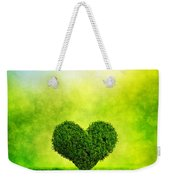 Heart Shaped Tree Growing On Green Grass Weekender Tote Bag