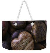 Heart Stone On River Rocks Weekender Tote Bag
