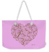 Heart With Pink Flowers And Swirls Weekender Tote Bag