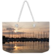 Heavenly Sunrays - Peaches-and-cream Sunrise With Boats Weekender Tote Bag