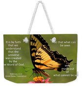 Hebrews Scripture Butterfly Weekender Tote Bag