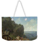 Heinrich Burkel 1802 - 1869 German Wirtshaus Auf Der Alm Mit Alpzug Tavern In The Alps Weekender Tote Bag