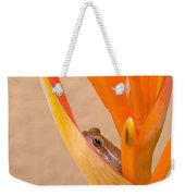 Heliconia And Frog Weekender Tote Bag
