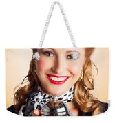 Help At Hand With Retro Woman Offering Assistance Weekender Tote Bag