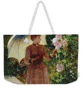 Henri Emile De Sachy France 19th Century Elegant Young Lady In The Garden Walk At Hollyhocks Weekender Tote Bag