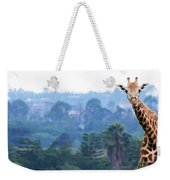 Here's Looking At You Kid.  Giraffe In Kenya Africa Weekender Tote Bag