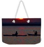 Heron And Kayakers Sunset Weekender Tote Bag