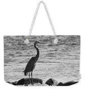 Heron On The Rocks Weekender Tote Bag by William Selander