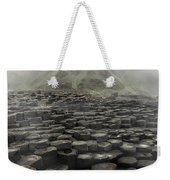 Hexagon Stones And A Mountain In The Morning Fog Weekender Tote Bag