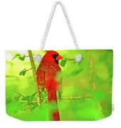 Hiding Behind The Leaves - Male Cardinal Art Weekender Tote Bag