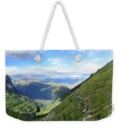 Highline Trail Overlooking Going To The Sun Road - Glacier National Park Weekender Tote Bag