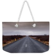 Highway Straight Road Leading To The Snowy Mountains Weekender Tote Bag