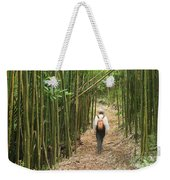 Hiker In Bamboo Forest Weekender Tote Bag