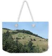 Hill With Haystack And Trees Landscape Weekender Tote Bag