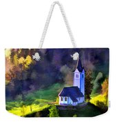 Hilltop Church In Misty Mountain Forest Weekender Tote Bag