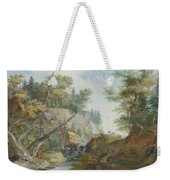 Hilly Landscape With A River And Figures In The Background Weekender Tote Bag