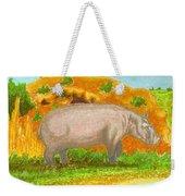 Hippo In The Savanna Weekender Tote Bag