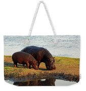 Hippo Mother And Child - Botswana Africa Weekender Tote Bag