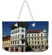 Historic Art Nouveau Buildings At Preseren Square White Tiled Ha Weekender Tote Bag