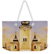 Historic Church And Town Square, Graphic Work From Painting. Weekender Tote Bag