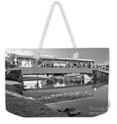 Historic Halls Mill Bridge Reflections Black And White Weekender Tote Bag