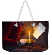Historical Victorian Woman Reading A Letter By Candlelight Weekender Tote Bag
