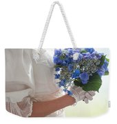 Historical Woman Holding A Bouquet Of Hydrangea  Weekender Tote Bag