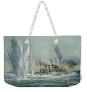 Hms Exeter Engaging In The Graf Spree At The Battle Of The River Plate Weekender Tote Bag by Richard Willis