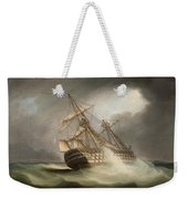 H.m.s. Victory In Full Sail And In A Squall Weekender Tote Bag