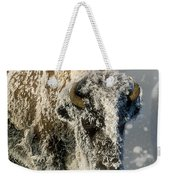 Hoarfrosted Bison In Yellowstone Weekender Tote Bag