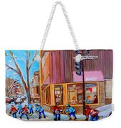 Hockey At Beautys Deli Weekender Tote Bag by Carole Spandau