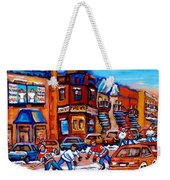 Hockey At Fairmount Bagel Weekender Tote Bag